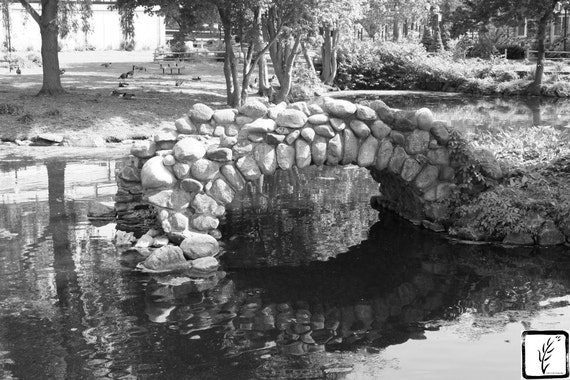 B&W Photograph, fine art, photo print, wall art, home decor, bridge, nature, stone bridge, park, Long Island, New York, haiku