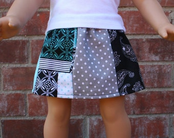 18 Inch Doll Skirt in Black, Aqua and Gray- American Made Doll Skirt- Fits 18 inch dolls