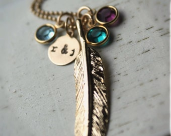 FREE SHIPPING. Mama Bird 14k Gold Feather Necklace. Birthstone and Initial. Family, Mother, Grandmother