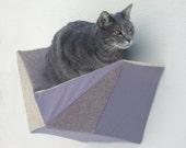 Cat shelf wall bed in taupe tweed, grey & beige