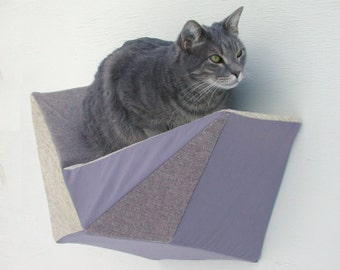 Cat shelf wall bed in taupe tweed, grey & beige