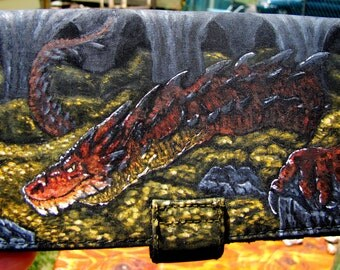 OOAK hand painted Smaug dragon Hobbit Wallet