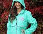 SALE Monogrammed Rain Jacket, Personalized Preppy Full Zip Raincoat, Waterproof Rain Coat, Spring Jacket, Gift for Her, Easter Gift
