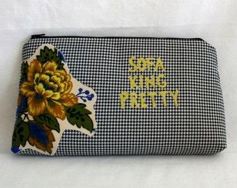 Sofa King Pretty Makeup Bag- Cosmetic Bag- Clutch - Applique