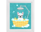92D - Bath Wall Art - White French Bulldog in Bubble Bath Wall Art - Dog Prints - French Bulldog Print - Funny Dog Drawing - Frenchie Print
