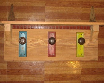 Vintage Door Knob Coat Rack /Shelf
