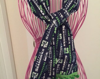 Seattle Seahawks Navy Blue Sparkle Cotton Fabric Scarf with Green Ball Fringe