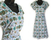 Vintage 50s Geometric and Floral Print Cotton Day Dress XL
