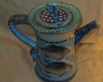 Stunning Ceramic Coffee Pot With Fish
