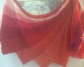 Shades or Orange Shawl handmade merino alpaca