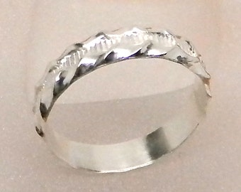 Rippling Rivulet Sterling Silver Patterned Band Ring 5mm wide Inexpensive Wedding Band Promise Ring
