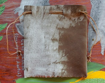 Recycled brown leather drawstring pouch with braided cords bag for tarot runes dice