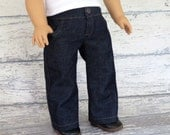 American Boy Doll Denim Blue Jeans with Pockets, Snap Waistband and Open Fly