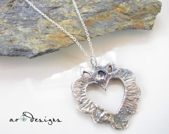 Sacred Heart - Silver Necklace - Fine Silver Pendant with Moonstone - Sterling Silver Cable Chain - Unique Design - Made to Order