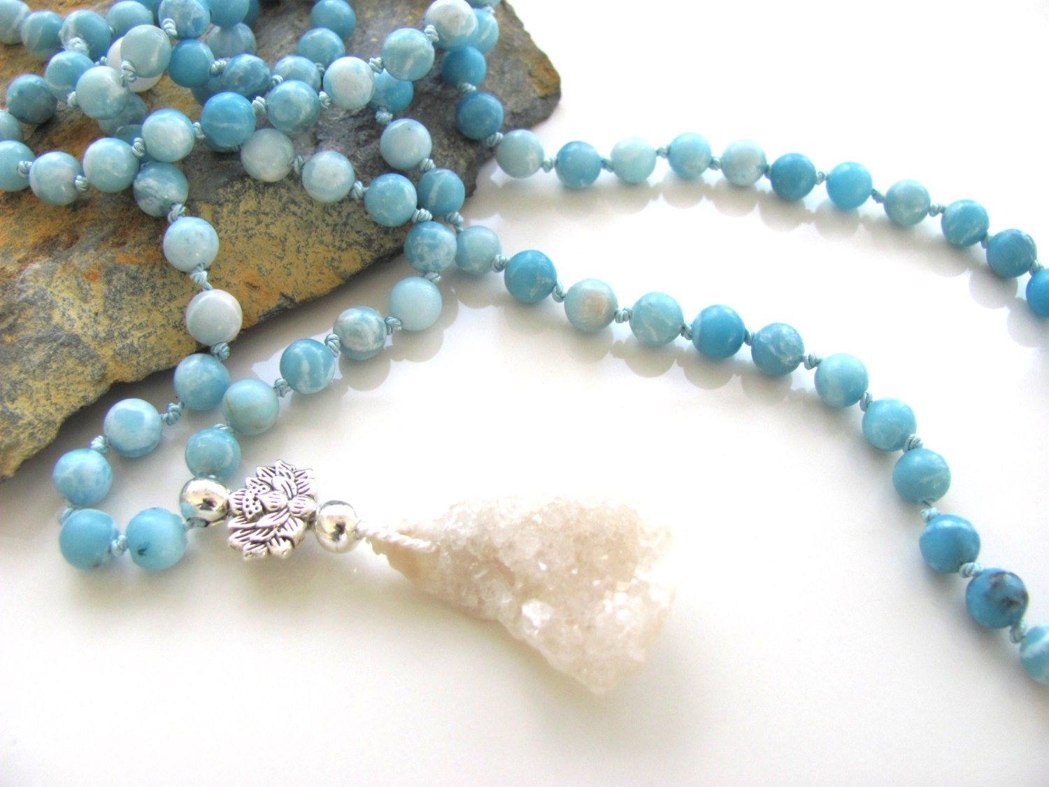 mantra mala knotted 108 bead mala aqua colored jade