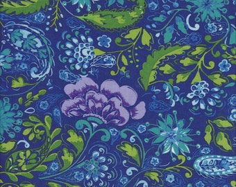 The Painted Garden Blossom Peacock - PWDF139 Dena Designs Dena Fishburn 100% Quilters Cotton Available in Yards, Half Yards and Fat Quarters