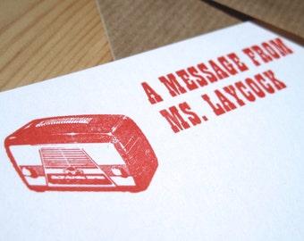 Personalised Letterpress Paper Stationery Set - Radio