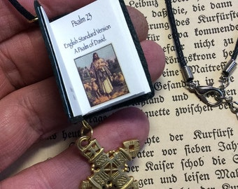 "Miniature book necklace ""Psalm 23""   The Lord is my shepherd"