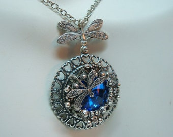 Dragonflies Jewelry Necklace, Cool Summer Waters, Silver Filigree, Gorgeous Large Swarovski Rivoli Jewel, Hand Made, Metal Bonded NOT Glued