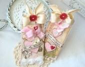 Be my Valentine Shabby  Chic Handmade Tag Set