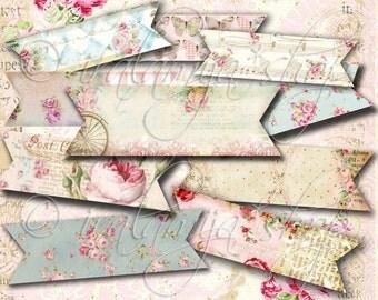 BANNER STRIPS collage Digital Images  -printable download file- Digital Collage Sheet Vintage Paper Scrapbook