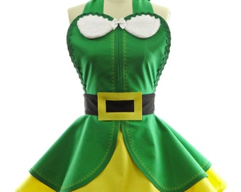 Retro Apron - Elf Buddy Womans Aprons - Vintage Apron Style - Christmas Classic Pin up Rockabilly Cosplay Costume