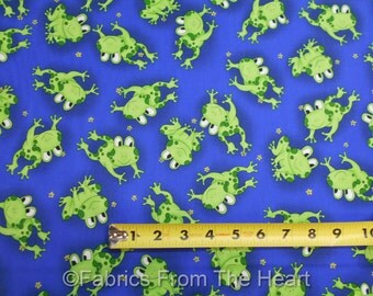 Frogs Happy Green Ribbits Flowers on Blue BY YARDS Fabri-Quilt Cotton Fabric
