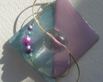 Signed Stephen Dalton Modernist Deco Lavender Abstract Pin Pendant Sculpture Flourite