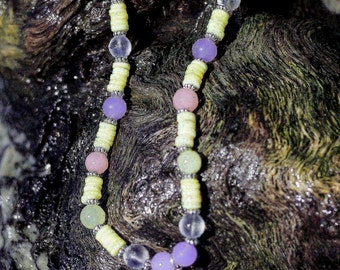 sea glass necklace,glass necklace sea glass jewelry,pink beads,lavender beads,yellow,mother of pearl,heishis,