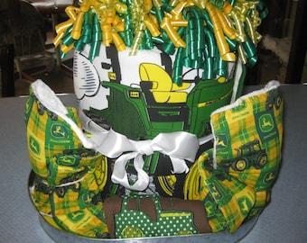 3-D John Deere Crib Blanket Baby Gift Basket ,2 Burp Cloths, 3 Washcloths, Outfits,Bib