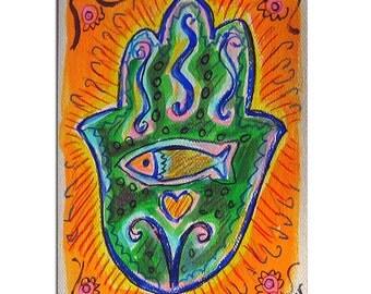 Hamsa Hand Card, Hamsa Fish, Jewish Card, Jewish Art, Hand Painted Card, Hamsa Art, Fish Painting, Hamsa painting, Congratulations card