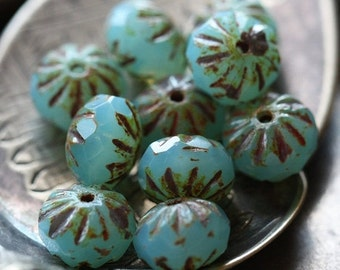 10% off BLUE MILK CRULLER .. 10 Premium Picasso Czech Glass Beads 9x6mm (3516-10)