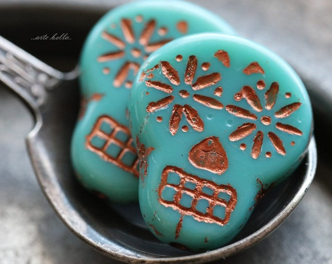 TURQUOISE COPPER SKULLS .. 2 Picasso Czech Sugar Skull Beads 20x17mm (5273-2)