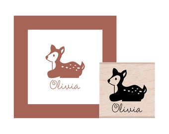Deer Personalized Rubber Stamp