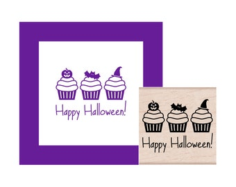 Happy Halloween Cupcakes Rubber Stamp