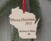 WISCONSIN Personalized State Ornament Merry Christmas - Custom State Ornament  - Free Shipping USA