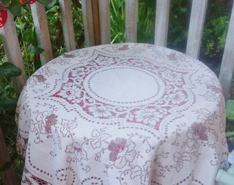vintage maderia style tablecloth 42x46 inches