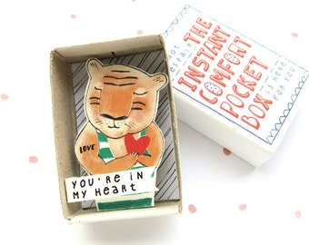 Tiger Love - The Instant Comfort Pocket Box - you're in my heart - valentines day gift - consolation and cheer up box