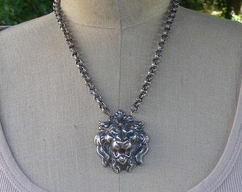 Silver Lion Necklace Pendant, Blue Eye Lion Necklace, Enamel Lion Necklace, Roaring Lion Jewelry