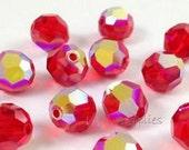 6mm Light Siam AB 5000 Round Bead, Swarovski crystal, Crystal Passions®, 6mm Light Siam AB 5000 - Pack of 8