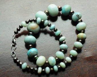 Natural Blue Amazonite Stone Necklace with bronze freshwater pearls sterling clasp
