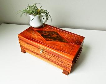 Jewelry Box, Vintage Wood Box, Man Woman Jewelry Box, Keepsake Box
