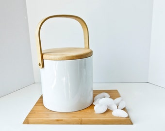 Mid Century White Wood Georges Briard Ice Bucket