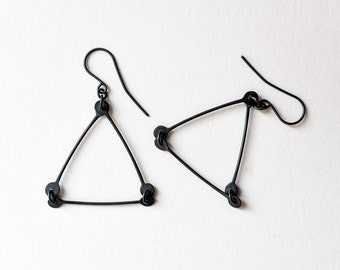 Triangle Dangle Earrings, Black Triangle Earrings, Oxidized Sterling Dangle Earrings, Dangle Earrings, Minimalist Earrings, Modern Jewelry