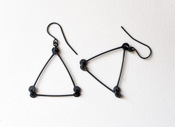 triangle dangle earrings black triangle earrings by. Black Bedroom Furniture Sets. Home Design Ideas