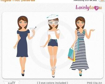 SALE Woman summer beach sailing fashion clipart, digital PNG clip art (Sally R04)