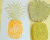 pineapple hand carved rubber stamp set, handmade rubber stamps, fruit stamps