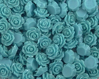 CLEARANCE Cabochon Resin Flower 40 Resin Round Rose Flower Blue 10mm x 5mm (1026cab10m1-#1)os