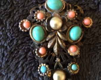 Vintage brooch multicolored