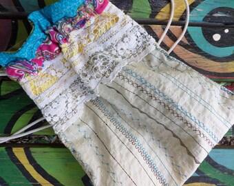Hippie Backpack, Hippie Back Pack, hippie back sack, festival bag, boho back pack, drawstring back pack,  recycled fabric, small, C55,  hobo